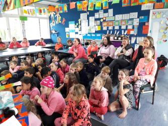 pink Ohaaki Team watching a video on anti bullying