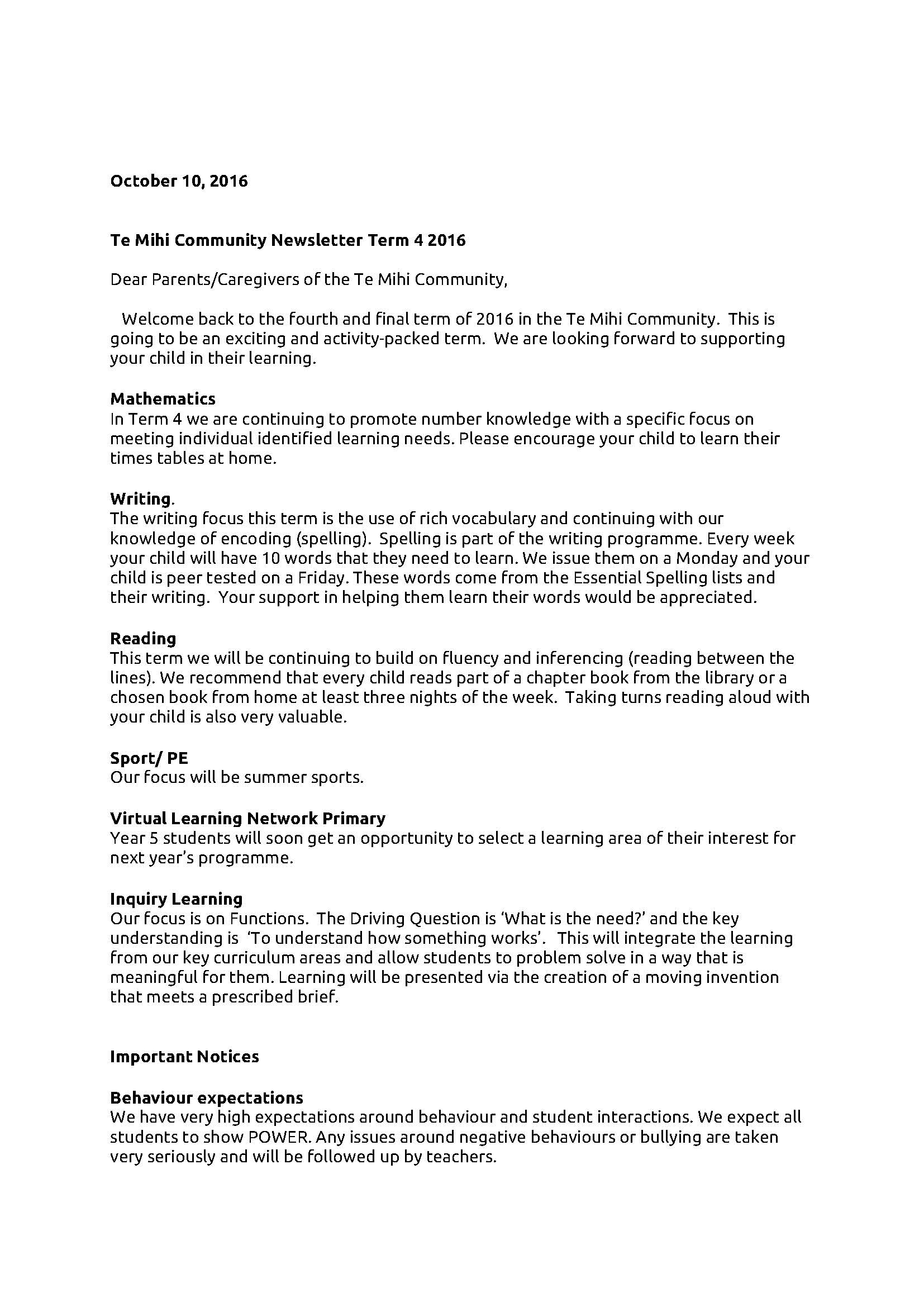 Te Mihi Learning Community Term 4 Letter